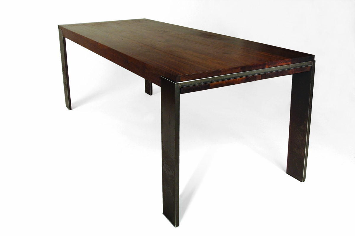 Walnut & Metal Parsons Table
